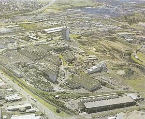 Penrose, New Zealand - The New Zealand Forest Products headquarters and factory in 1982. Note the same skyscraper in the upper right.