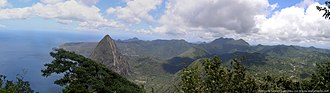 Petit Piton - Panorama View from the top of Gros Piton, looking north. Gives a view of the Petit Piton and northern St. Lucia.