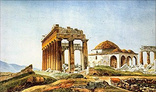 The Ottoman mosque built in the ruins of the Parthenon after 1715