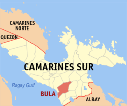 Map of Camarines Sur showing the location of Bula
