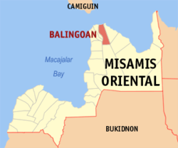 Map of Misamis Oriental with Balingoan highlighted
