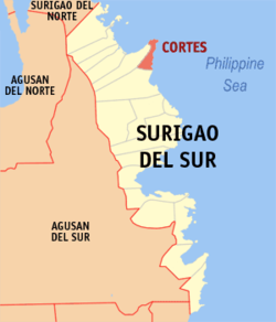Map of Surigao del Sur with Cortes highlighted