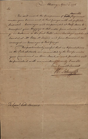 Philip Schuyler - Letter from Philip Schuyler to Israel Shreve, 1776