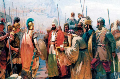 Painting of Atropates, meeting with Alexander the Great. Historical Azerbaijan (also known as Iranian Azerbaijan) is believed to be named after him. Photo from Azerbaijan National Museum which shows the meeting of Atropates (king of Atropatene) and Alexandre The Great2.png