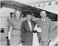 Photograph of President Truman, Mrs. Truman, and Margaret Truman at the airport in Washington, preparing to depart on... - NARA - 200331.tif