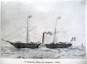 Expedition of the Thousand - The steamship, Piemonte, one of the two steamships, that transported the Thousand to Sicily