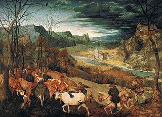 <i>The Return of the Herd</i> painting by Pieter Brueghel the Elder