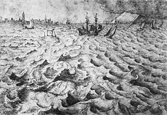 The Storm at Sea - Seascape with a view of Antwerp, pen and brown ink drawing by Bruegel, at Courtauld Institute of Art.