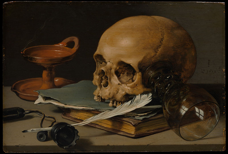 Pieter Claesz, Still Life with a Skull and a Writing Quill, 1628, The Metropolitan Museum of Art, New York, NY, USA.
