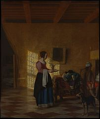 Woman with a Water Pitcher, and a Man by a Bed (\