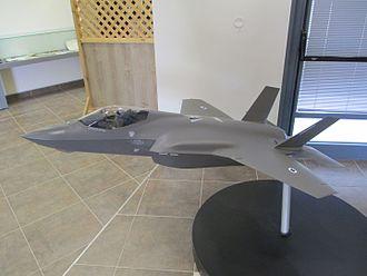 Lockheed Martin F-35 Lightning II Israeli procurement - A model of F-35 at Nevatim Air Force Base.