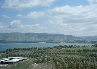 Jordan Valley (Middle East) - The Sea of Galilee. At its southern tip (right side) the Jordan River exits the lake and enters the Jordan Valley.