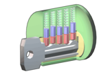 A model of a pin tumbler lock, made entirely using software released under GFDL. Author : Wapcaplet