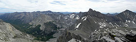 A photo of the Pioneer Mountains looking southwest from Hyndman Peak