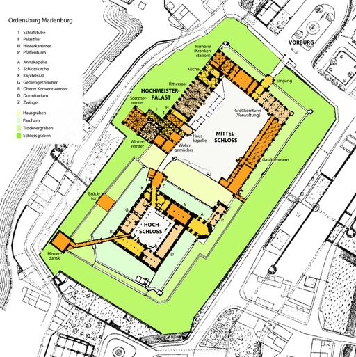 Plan der Ordensburg Marienburg Grundriss
