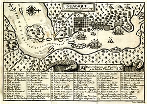 Guayaquil - Engraving depicting a map of Guayaquil in 1741.