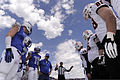 Players meet for a coin toss prior to the start of the U.S. Air Force Academy's opening football game against the Idaho State Bengals at Falcon Stadium in Colorado Springs, Colo., Sept 120901-F-ZJ145-527.jpg