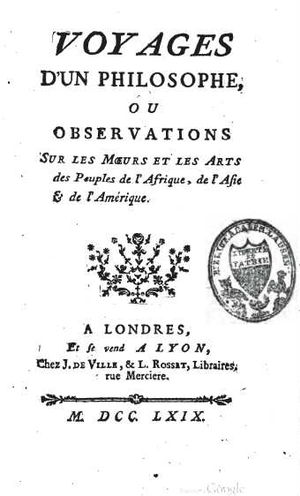 "Pierre Poivre - 1769 title page of ""Voyages of a Philosopher""."