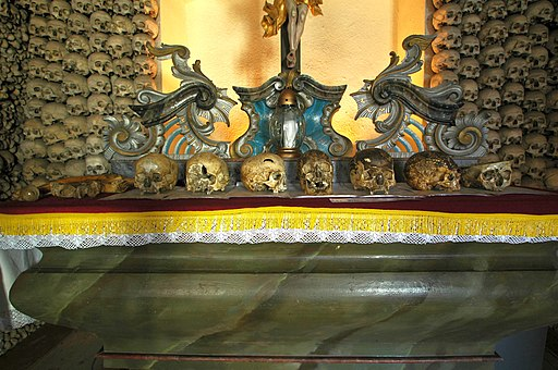 Poland - Czermna - Chapel of Skulls - altar with skulls 03