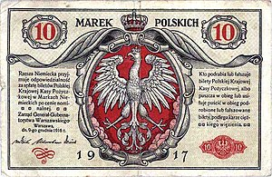 Government General of Warsaw - Ten Polish marks, 1917.