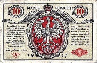 Polish marka - 10 mark banknote of 1917