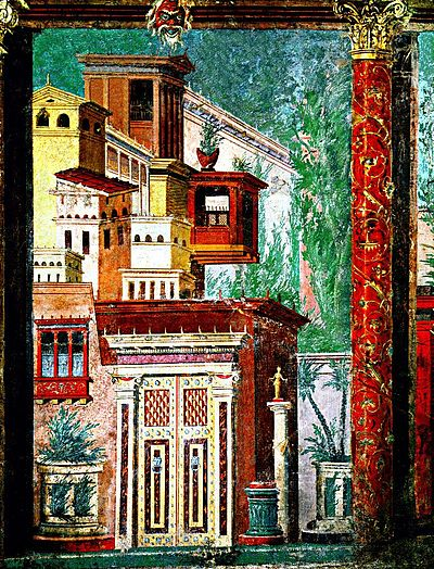 Freska iz Pompeja s najstarijim, tzv. Arhitektonskim stilom, 2. st. pne.