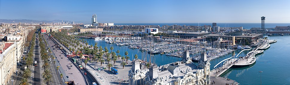 An aerial panoramic view from the Columbus Monument across Port Vell