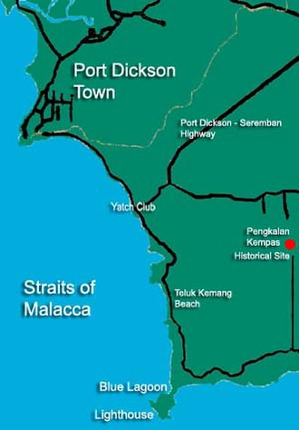 Battle of Cape Rachado - Location of the lighthouse of Cape Rachado and town of Port Dickson