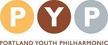 "Three circles, each a different color, with a letter inside: ""P"", ""Y"", and ""P"". Below the three circles is the text ""Portland Youth Philharmonic""."