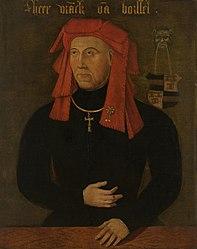 anonyme: Portrait of Frank van Borselen (c. 1390-1470), Lord of Sint Maartensdijk