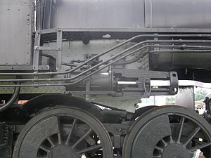 Reversing gear - Steam reverser on a Southern Railway 2-8-0.