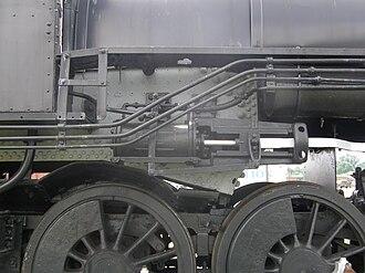 Reversing gear - Steam reverser on a Southern Railway 2-8-0.