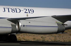 Pratt & Whitney JT8D - JT8D-219 on the Omega Air Boeing 707RE flight test aircraft at the Mojave Airport