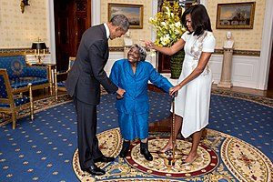 Virginia McLaurin - McLaurin at 106, (center) meets with President Barack Obama and wife first lady Michelle Obama, in the Blue Room of The White House February 2016