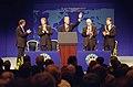 President Bill Clinton, Prime Minster Tony Blair, David Trimble, Seamus Mallon and Lord Mayor David Alderdice address the Assemby of Northern Ireland in the Main Auditorium at Waterfront Hall.jpg