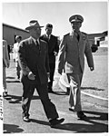 President Harry S. Truman Walking with Admiral Arthur Radford.jpg
