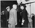President Harry S. Truman and King George VI of England aboard the U. S. S. Augusta off the coast of Plymouth... - NARA - 198720.tif