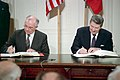 President Ronald Reagan and Soviet General Secretary Mikhail Gorbachev signing the INF Treaty in the East Room.jpg