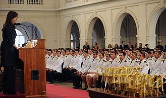 Colegio Militar de la Nación - Former President Cristina Fernández de Kirchner addresses 2010 graduating class.