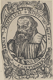 Primož Trubar, woodcut by Jacob Lederlein, 1578