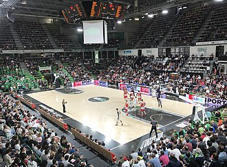 ASVEL Basket - Interior view of the L'Astroballe in 2017