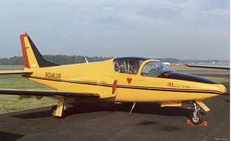Promavia Jet Squalus - The prototype Promavia Jet Squalus exhibited at the Farnborough Air Show in September 1988