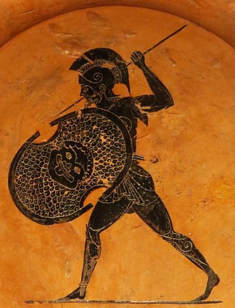 Psiax - Armoured warrior on a plate acribed to Psaix, circa 510 BC, found in the sanctuary of Zeus at Olympia, Antikensammlung Berlin.