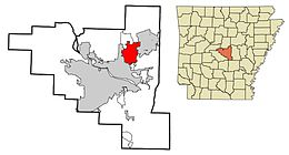 Pulaski County Arkansas Incorporated and Unincorporated areas Sherwood Highlighted 2010.JPG