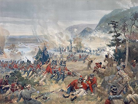 Depiction of the 2nd Regiment of York Militia during the Battle of Queenston Heights. The regiment was one of several Canadian militia units during the War of 1812. Push on, brave York volunteers(large).jpg