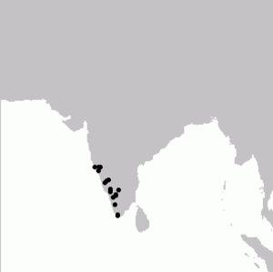 Grey-headed bulbul - Image: Pycnonotus Priocephalus Map