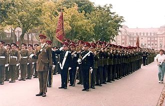 Osnabrück Garrison - The Queen's Royal Irish Hussars, who were based at York Barracks, presenting their guidon party and honour guard during the Freedom of Münster parade, 1983