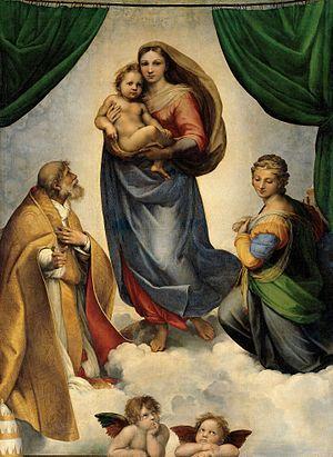 Sistine Madonna - Image: RAFAEL Madonna Sixtina (Gemäldegalerie Alter Meister, Dresden, 1513 14. Óleo sobre lienzo, 265 x 196 cm)