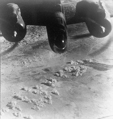 RAF Baltimore of No. 223 Squadron bombing El Daba airfield in support of the Alamein offensive RAF Baltimore bombing El Daba airfield.jpg