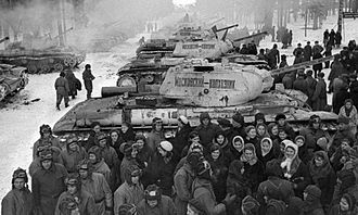 Operation Mars - Soviet collective farmers hand over KV-1S tanks to their crews